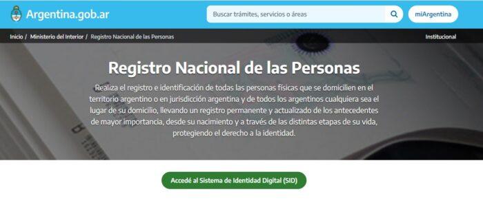 Registro Nacional de las Personas en Argentina (Renaper)